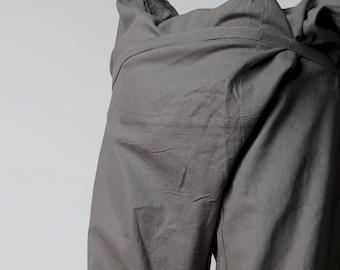 grey fisherman pants, thai fisherman pants, fishermen Trousers, wrap pants, shanti, yoga, fisherman, thailand, mens yoga pant, cotton pants