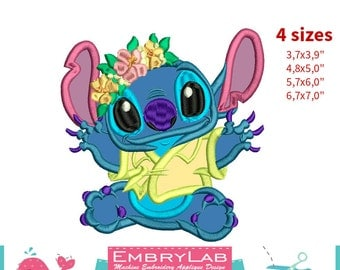 Applique Stitch. Lilo & Stitch. Machine Embroidery Applique Design. Instant Digital Download (16285)