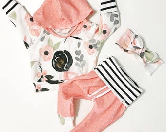 baby girl outfit / baby girl clothes / floral print /  baby clothing / newborn girl outfit / baby outfit / toddler girl outfit / cute baby
