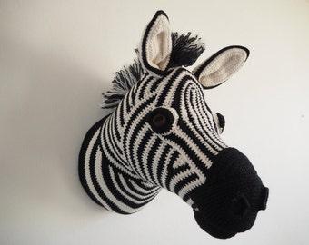 Crocheted zebra head taxidermy trophy head