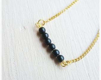 SALE,Matte Black Onyx,Gemstone,Bead Bar,Bracelet,Simple,Minimalist,Dainty,Unique,Pretty,Casual,Elegant,Nature,Natural,Stone,Beads,Woodsy