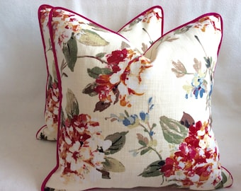 Watercolor Floral Designer Pillow Cover Set - Red/ Pink Geranium Print with Piping - 2pc Set - 18x18 Covers