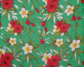 "Indian Decor Fabric, Floral Print, Green Fabric, Dress Material, Quilting Fabric, 42"" Inch Chiffon Fabric By The Yard ZBCH104A"