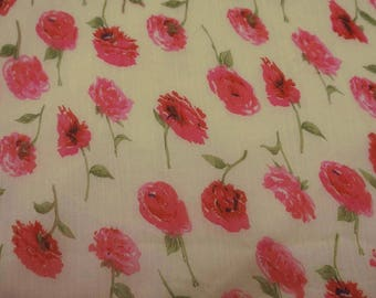 "Beige Chiffon Fabric, Floral Print, Craft Fabric, Dressmaking Fabric, 42"" Home Decor Fabric By The Yard ZBCH125C"