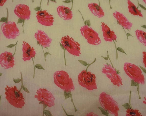 Beige Chiffon Fabric Floral Print Craft Fabric Dressmaking Fabric 42 Home Decor Fabric By