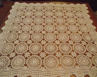 SALE! 50% off Traditional russian Ukrainian embroidery Crocheted Doily Romanian Point Lace Hand Crochet Doily Ivory Floral runner gift