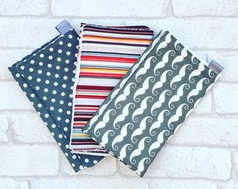 Burp Cloth // Baby burp cloth bundle set of 3 with grey and white moustaches, spots and multi-coloured stripes from newborn
