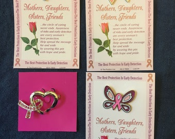 BREAST CANCER Support Pins, 4 Pins to Choose From, For Mothers Daughters Sisters Friend, Card with Pin, Encouragement Team, Pink Ribbon