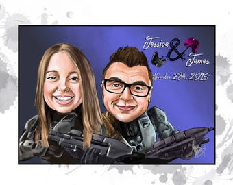 Custom caricature - 2 person caricature - unique Birthday gift, wedding gift, couples gift, parents gift, wedding signage