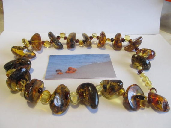 Natural Baltic #Amber Real #Huge #Necklace, weight 108.6 gr lemon #green cognac transparent #inclusions raw stones polished beads for adult
