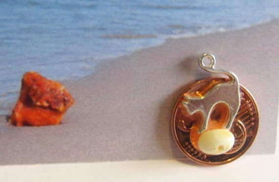 Cat 100% Natural Baltic #Amber #Souvenir #gift Silver plated  figure lucky coin 5