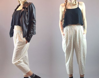 90s High Waisted Pant Vintage Drop Crotch Linen Pant Mom Pant Cropped Capri Womens Sweat Pant Trouser Size M
