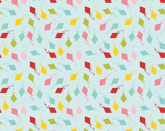Happy Day Kites Aqua - Riley Blake Designs - Blue Green Pink Red Aqua Yellow Kite - Quilting Cotton Fabric - by the yard fat quarter half