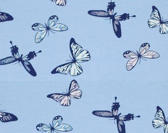 Butterflies on Blue Print Jersey Cotton Lycra mix. Knit fabric by the half meter