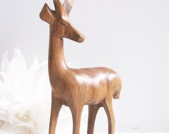 Hand carved antelope, Carved animal, Hand carved animal, Gazelle statue, Antelope statue, Wood gazelle