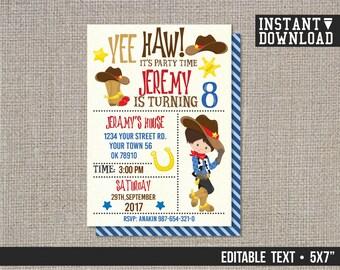 Cowboy invitation, cowboy theme birthday, boys cowboy birthday, western party, cowboy theme - EDITABLE TEXT - Instant Download