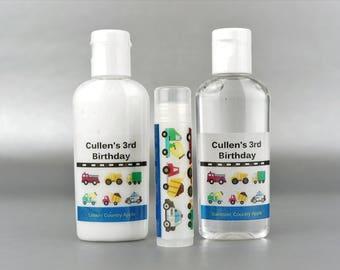 Personalized. Cars and Trucks. 1 oz lotion/sanitizer/lip balm set