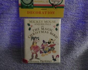 Mickey Mouse Kurt Adler miniature book ornament decoration The Magic Christmas Bird Disney nip Herkimer white read your dolls a story