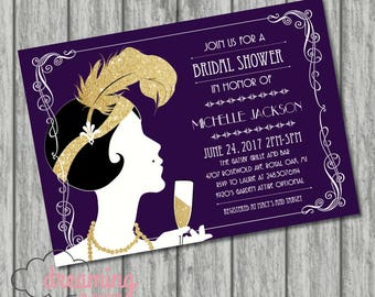 Flapper Art Deco Gatsby Bridal Shower Invitation
