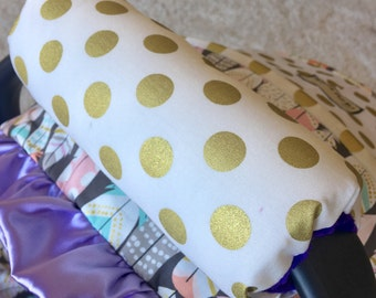 Gold Dot Arm Pad, Arm Cushion for Car Seat Handle, Cushioned Arm Pad, Minky Reverse, Reversible Arm Pads Carseat