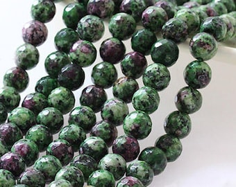 B55 Faceted Ruby Zoisite Beads, Full Strand 6 8 10 12 14mm Round Ruby Zoisite Gemstone Beads for DIY Jewelry Making