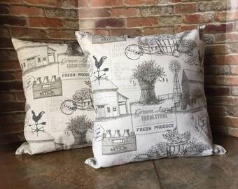 Farmhouse Throw Pillow Covers, Throw Pillow Cover, Farmhouse Style, Envelope Style, Throw Pillow, Farm Store, Fresh Produce, Pillow Cover