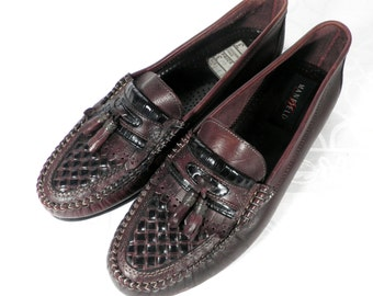 Chocolate Brown Italian Leather Vintage Tassled Loafers   Size 9 / 43