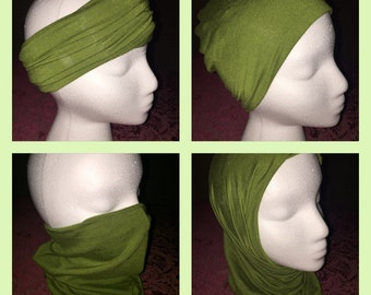 Versatile Headband/Hat/Face Shield all in one! Green