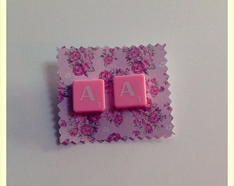 Pink scrabble earrings