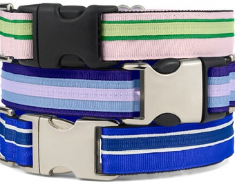 Stripe Dog Collar, Stripes Dog Clip Collar, Banded Puppy Collar, Collars For Dogs, Puppy Clip Collars, Gifts For Dogs SR01