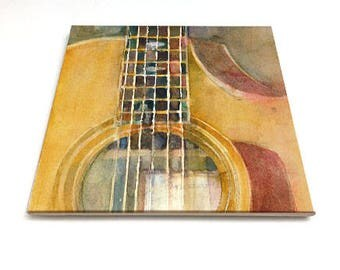 "Taylor Guitar  - by Dorrie Rifkin  6"" Glossy Ceramic Tile"