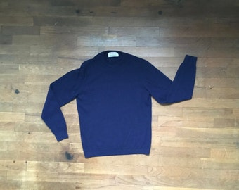vintage made in scotland for burberrys london by ballantyne pure cashmere navy blue pullover sweater