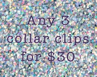 Any 3 Collar Clips [brooch lapel pin set]
