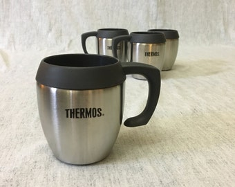 Vintage Stainless Steel Thermos Coffee Mugs, Set of 4