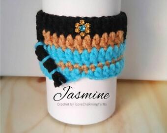 Princess Jasmine coffee cup cozy, cup cozy, crochet cup cozy disney cup cozy, tumbler cozy, coffee cozy, mug cozy,cup cozy,cup wrap,mug wrap