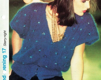Original Vintage 1980s Ladies Elegant SWEETHEART Top Knitting Pattern, Bat Wing Glamour Puss, Pin Up, 1940s, 1920s style, Chic, New Look,