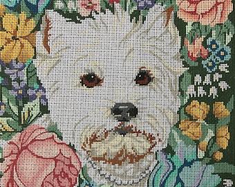 """Handpainted Needlepoint Barbara Russell #BR11 """"Westie in Flowers"""""""