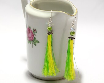 lime Green Tassel Earrings. Long Dangle Chandelier earrings with pearls and Swarovski. Green yellow Tassel Earrings with freshwater pearls