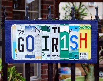 GO IRISH - custom made Notre Dame Fighting Irish license plate sign - tailgate/alumni/graduation gift