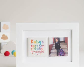 Personalised Clay Photo Tile Frame, First Day of School Gift, Instagram Gift, Photo Frame, Children's Decor, Rainbow Gift | Photo Gift