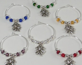 4 Leaf Clover Wine Glass Charms, 4 Leaf Clover Wine Glass Markers