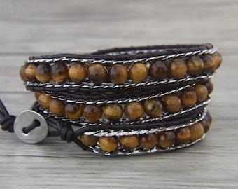 Triple wrap bracelet White jade bead bracelet Boho wrap bracelet chain bead bracelet Leather wrap bracelet braid bead bracelet SL-0474