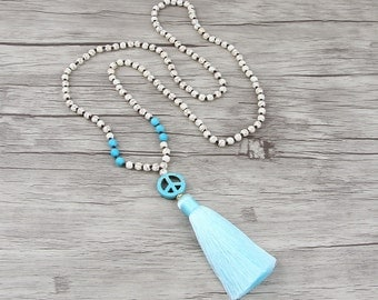 Turquoise necklace Peace charm necklace Blue tassel necklace Gemstone necklace White bead necklace BOHO bead necklace Tassel jewelry NL-019