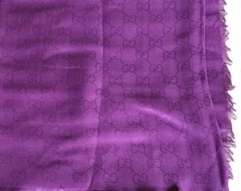 GUCCI GG Printed purple scarf shawl LARGE