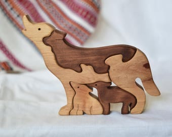Wolves Wooden puzzle, Natural Baby Toy, Montessori Toy, Educational Toy, Wooden toy, Toddler wood Toy, Kids gifts, Mother's & Father's day