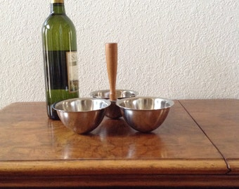 Vintage Mid Century Modern Three Bowl Condiment Stand, Serving Stand, Relish Tray