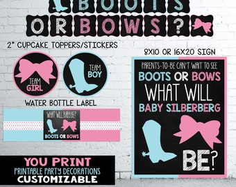 Boots or Bows Gender Reveal Party Decoartions Pack