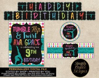 Gymnastics Birthday Printable Party Decorations