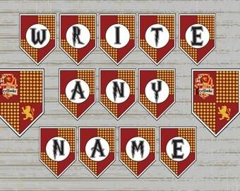 Gryffindor Printable Birthday Banner, Harry Potter, Gryffindor Colours, Hogwarts Inspired, Customise your own Birthday Banner,