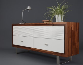 Console / Dresser with 4 drawers in white wood / Cupboard furniture modern mid century / Chest of drawers / Cabinet solid wood / Sideboard